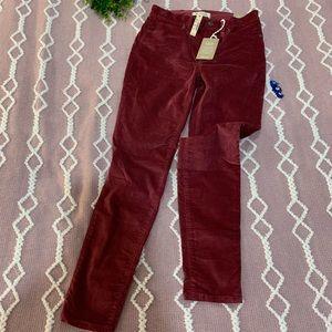 {Madewell} skinny velvet jeans